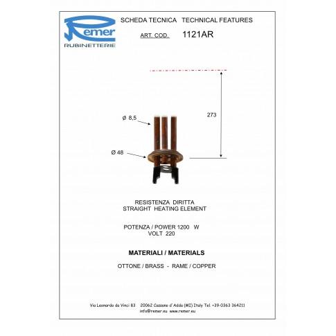 Rezistenta electrica pentru boiler Remer, 1200 W, 1121AR
