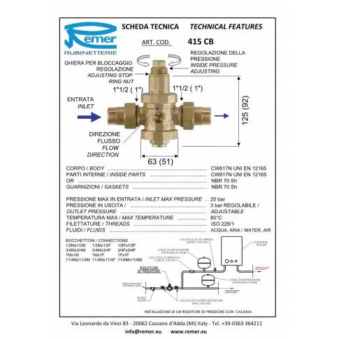"Reductor presiune apa Remer 415CB12 + cuple 1/2"", presiune maxima 25 bar"