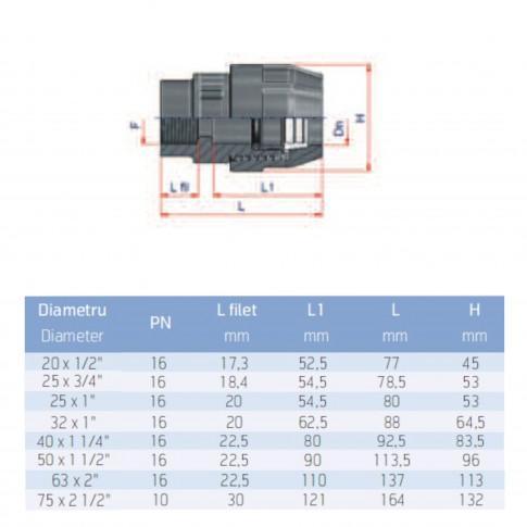 "Racord compresiune PEHD, filet interior, D 63 mm x 2"""