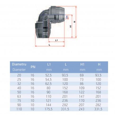 Cot compresiune PEHD, D 90 mm, 90 grade
