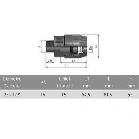"Racord compresiune PEHD, filet exterior, 25 mm "" x 1/2"""
