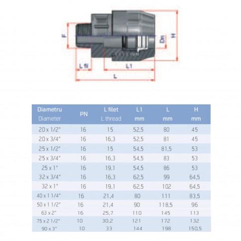 "Racord compresiune PEHD, filet exterior, D 90 mm x 3"""
