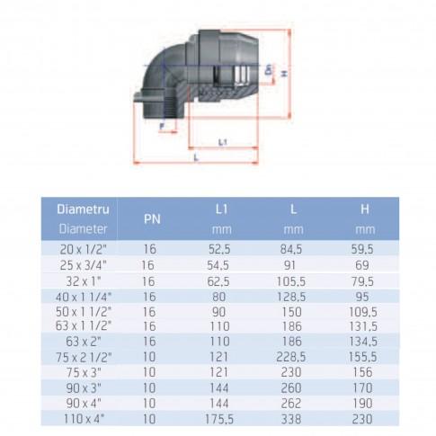 "Cot compresiune PEHD, filet interior, D 90 mm x 3"", 90 grade"