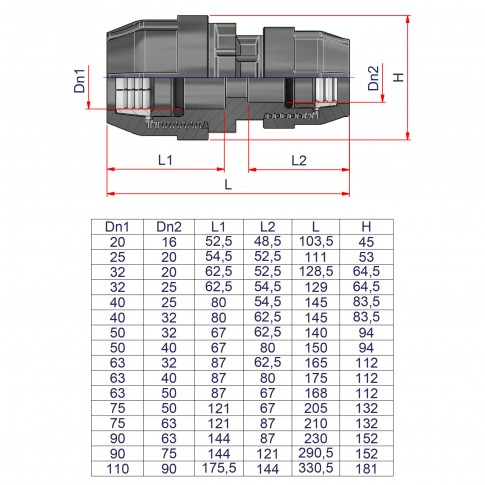 Mufa compresiune redusa PEHD, D 50 - 40 mm