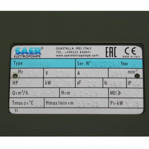 Pompa apa Saer M80 HP 1, 0.75 kW, corp fonta, Q max. 3 mc/h, H max. 55 m, 2850 RPM, 230 V, 10300698