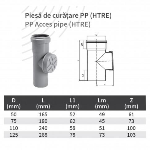 Piesa de curatire PP HTRE, D 125 mm