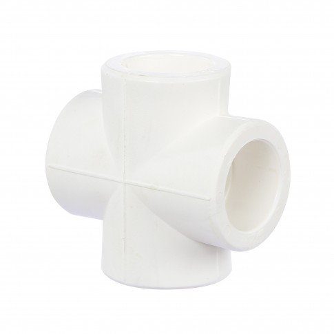 Cruce PPR, imbinare tevi, D 20 mm, alb