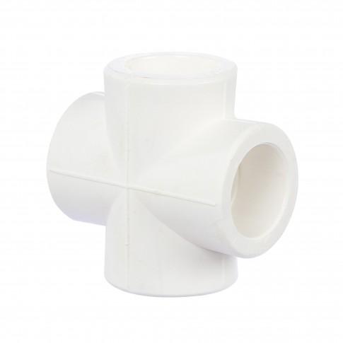 Cruce PPR, imbinare tevi, D 25 mm, alb