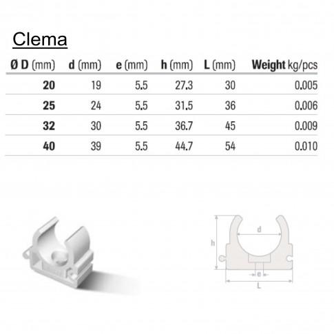 Clema suport teava PPR D 32 mm, alb