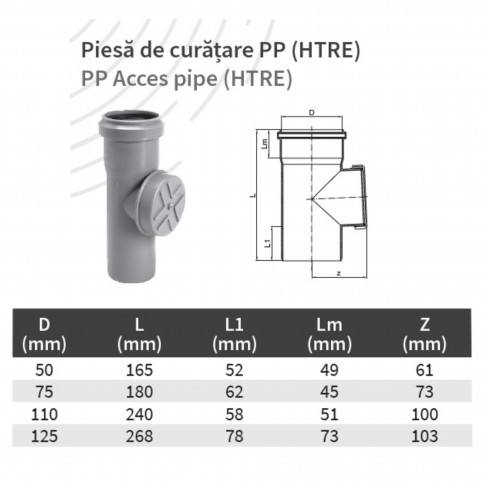 Piesa de curatire PP HTRE, D 75 mm