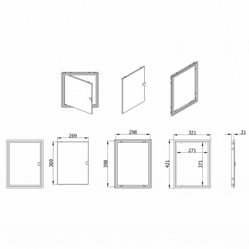Usita vizitare, TE-MA, pentru instalatii sanitare, alba, 30 x 40 cm