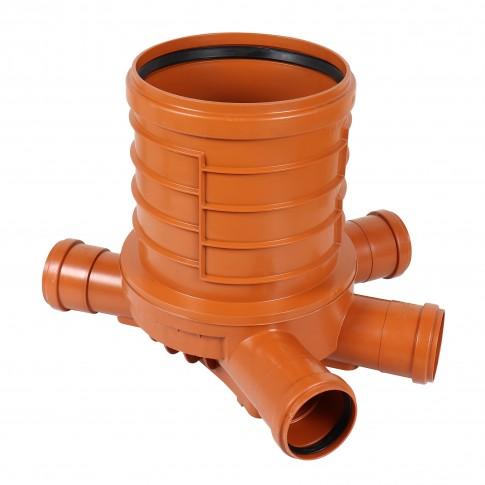 Baza camin canalizare, PVC, D 315 mm, cu 3 intrari + 1 iesire D 110 mm
