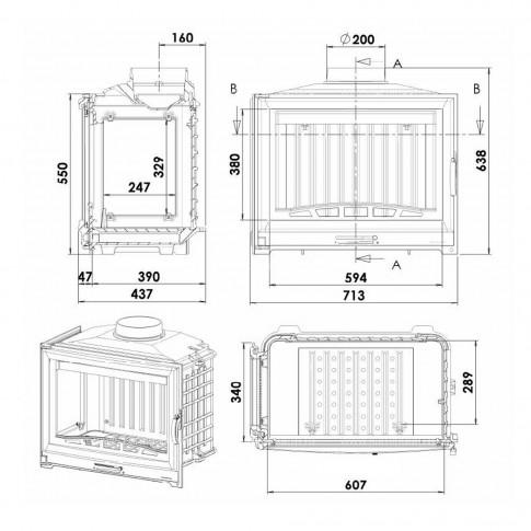 Focar semineu Chazelles D70 G, geam lateral stanga, din fonta, 13 kW, 71.3 x 63.8 x 43.7 cm