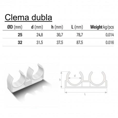 Clema dubla suport teava PPR, D 20 mm, alb