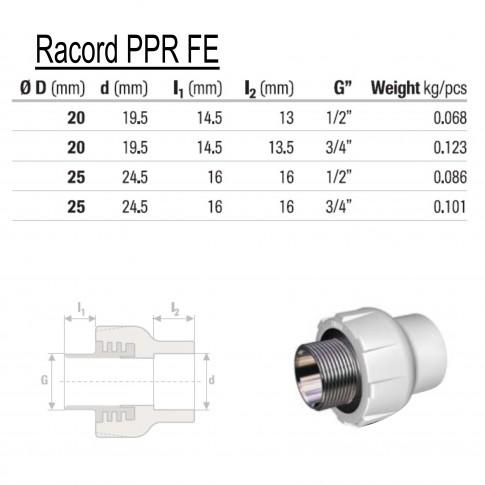 "Racord PPR, FE, D 20 mm x 3/4 """