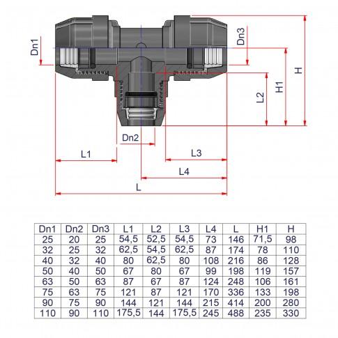 Teu compresiune redus PEHD, D 110 x 90 x 110 mm