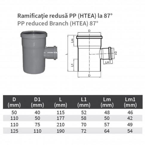 Ramificatie PP HTEA, pentru scurgere, D 110 x 75 mm, 87 grade