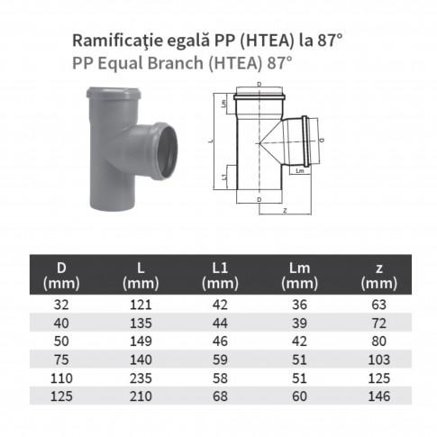 Ramificatie PP HTEA, pentru scurgere, D 75 x 75 mm, 87 grade