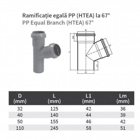 Ramificatie PP HTEA, pentru scurgere, D 32 x 32 mm, 67 grade