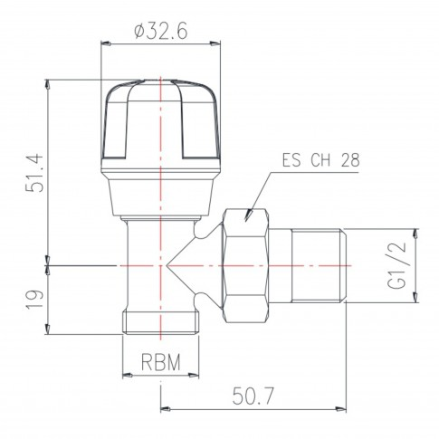"Robinet colt tur cu RFS, pentru calorifer, RBM, 5870400,  D 1/2"""