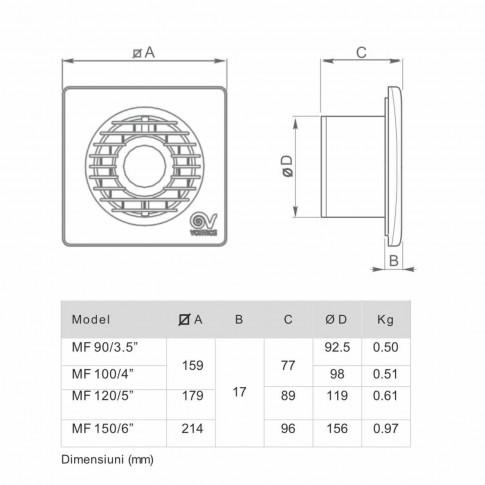 "Ventilator axial cu timer Vortice Punto Filo MF 120/5"", D 120 mm, 20 W, 175 mc/h, 11128"