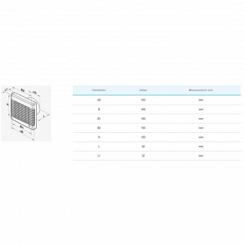 Ventilator axial cu timer si senzor miscare Vents 100 M1TP, D 100 mm, 16 W, 2300 RPM, 98 mc/h