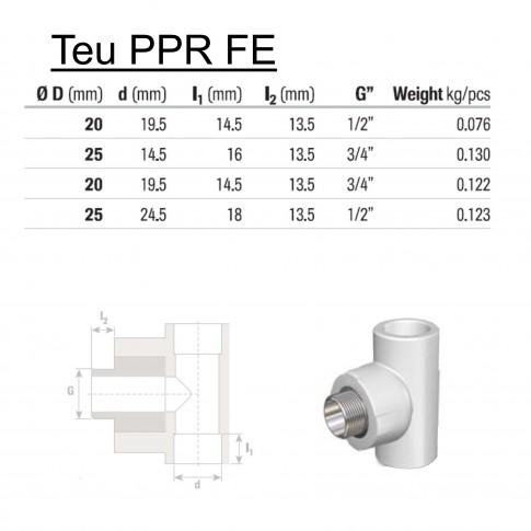 """Teu PPR, FE, D 25 mm x 3/4"""", alb"""