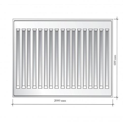 Calorifer otel Mastas 22PKKP, 600 x 2000 mm, accesorii incluse