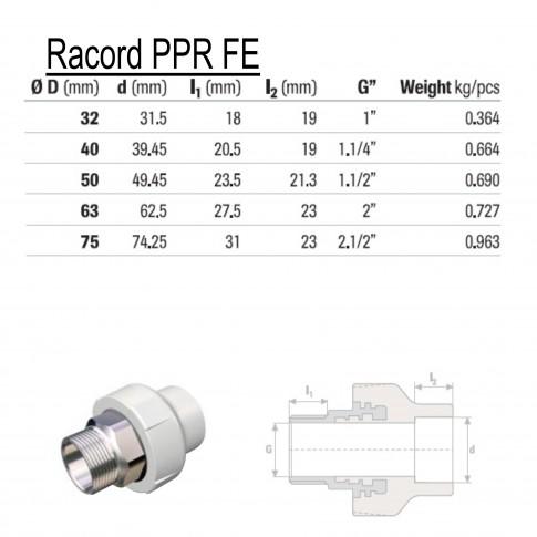 "Racord PPR, FE, 50 mm x 1 1/2"""