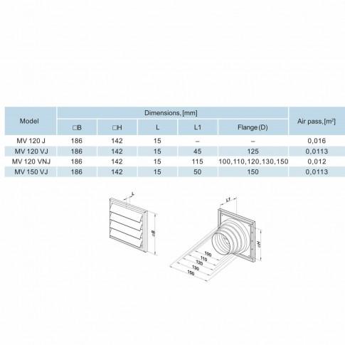 Grila gravitationala, Vents MV 120VNJ, ABS, D 100,110,120,130,150 mm