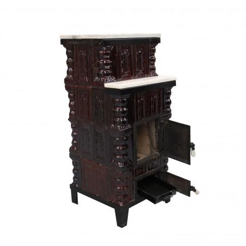 Soba teracota + marmura, pe lemne, Aba, 6.5 kW, 1080 x 465 x 465 mm
