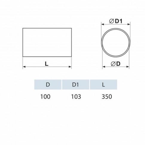 Tub ventilatie, Vents 10035, PVC, D 100 mm, L 350 mm