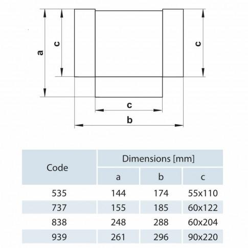 Conector tip T, pentru canal plat, Vents 737, PVC, 120 x 60 mm