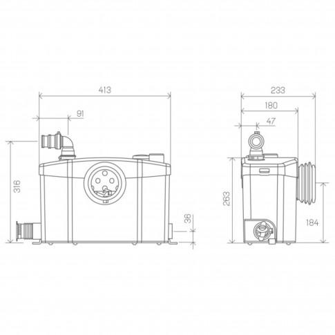 Sanipompa ape uzate SaniPro XR, pentru toaleta, lavoar, dus, bideu, 400 W, 413 x 180 x 263 mm