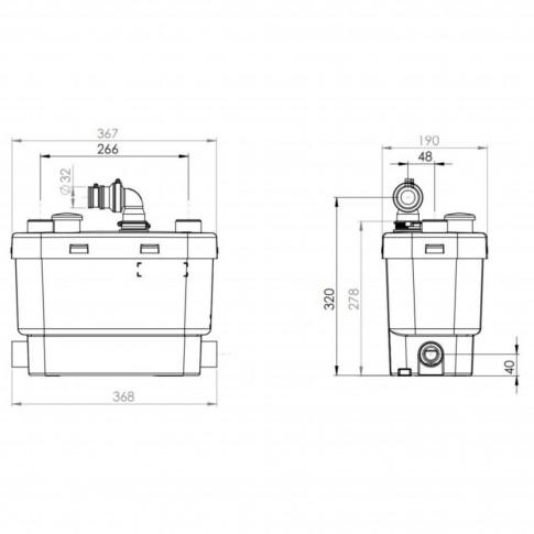 Sanipompa ape uzate SaniVite Silence, pentru masina de spalat vase, masina de spalat rufe, lavoar, cada, bideu, 400 W, 412 x 185 x 280 mm