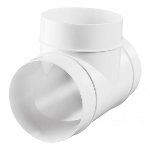 Conector tip T Vents, pentru tub ventilatie, PVC, alb, D 150 mm