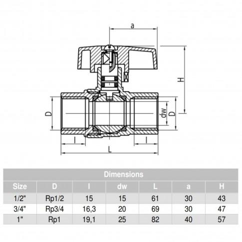 "Robinet bila gaz, Valvex Orion, filet interior - interior, fluture aluminiu, D 3/4"""