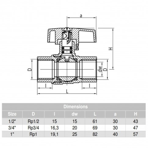 "Robinet bila gaz, Valvex Orion, filet interior - interior, fluture aluminiu, D 1"""
