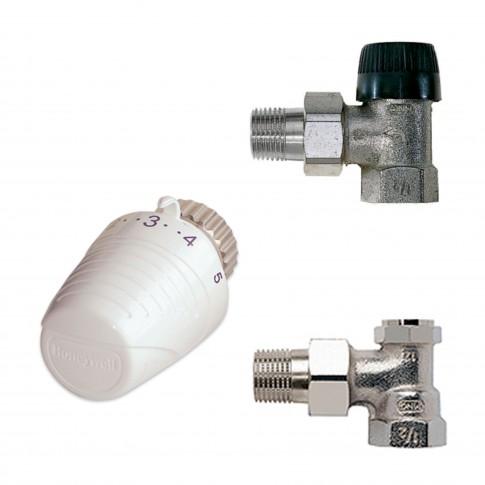 "Kit robinet coltar pentru calorifer + cap termostat, Honeywell, D 1/2"""