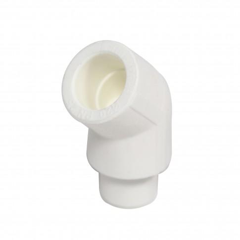 Cot PPR, redus, 20 x 20 mm, alb, 45 grade