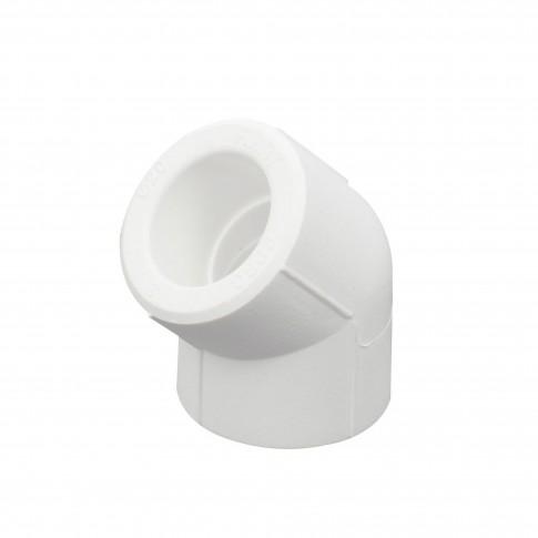Cot PPR, 50 x 50 mm, alb, 45 grade