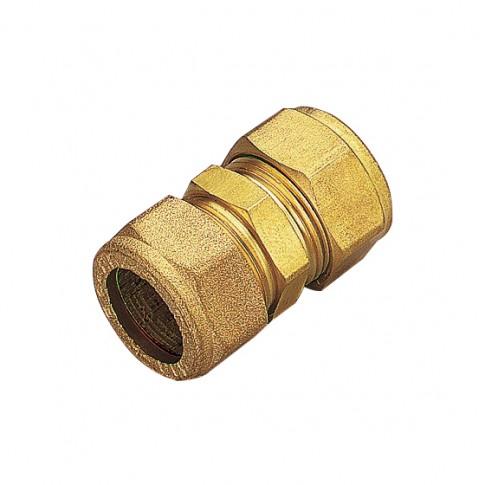 Racord dublu compresie cu inel, alama, 15 mm