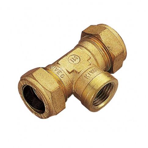 """Teu compresie cu inel, alama, FI, 22 mm x 3/4"""" x 22 mm"""