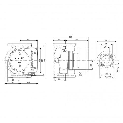 Pompa de circulatie Grundfos Magna1 40-60F 220 mm, H max. 6 m, Q max. 16.8 mc/h, PN 6/10, 230V