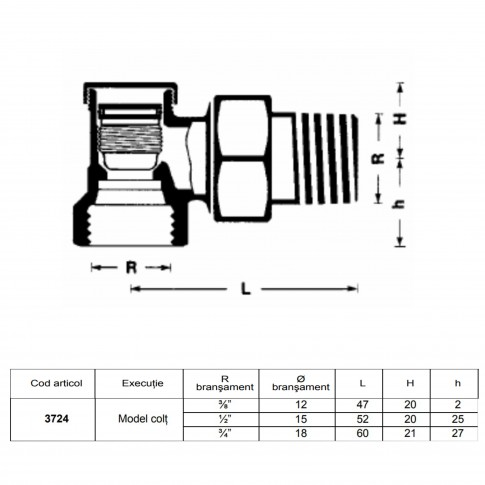 "Robinet retur coltar, pentru radiator, Herz, RL-1, 1372441, D 1/2"""