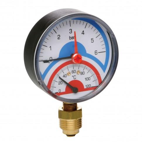 Termomanometru radial 0 - 4  ATM, 0 - 120 grade C, 258