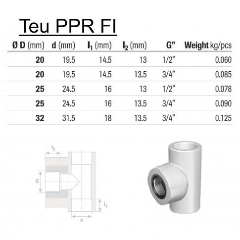 """Teu PPR, D, FI, 25 mm x 3/4"""", verde"""