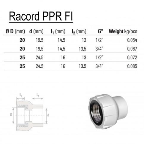 "Racord PPR, FI, 20 mm x 1/2"", verde"