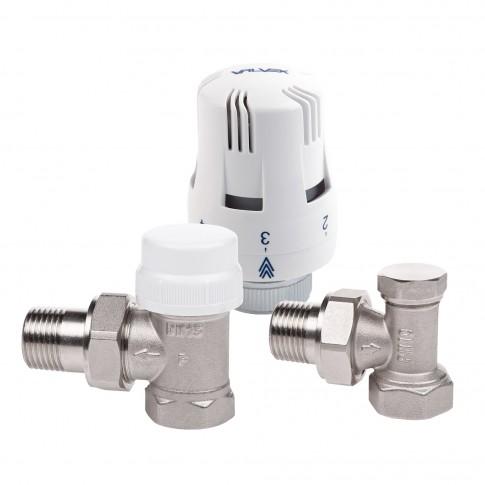 Kit robinet termostatic coltar, pentru radiator, complet nichelat, Valvex Thermo, D 1/2 inch