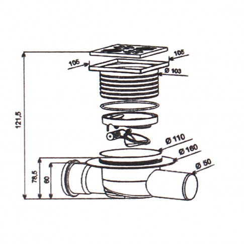 Sifon pardoseala, din inox, 100 x 100 mm, 1 intrare - 1 iesire laterala D 50 mm
